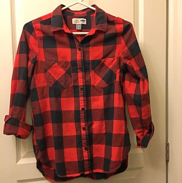 Navy Blue & Red Plaid Shirt
