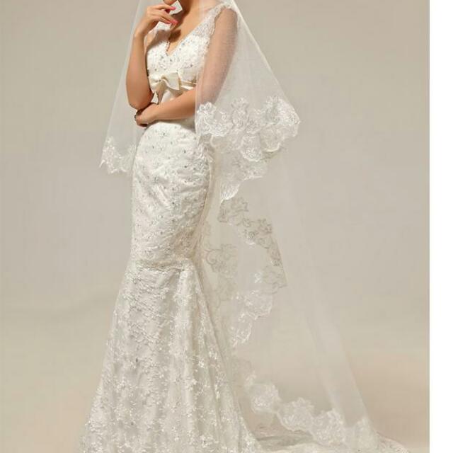 Plus Size Mermaid Korea Wedding Dress Long White Lace Maxi