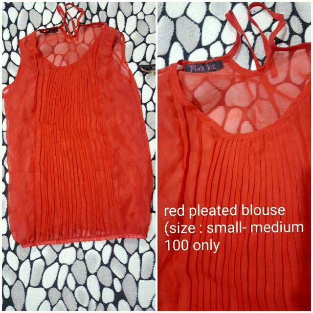 Preloved Red Pleated Blouse