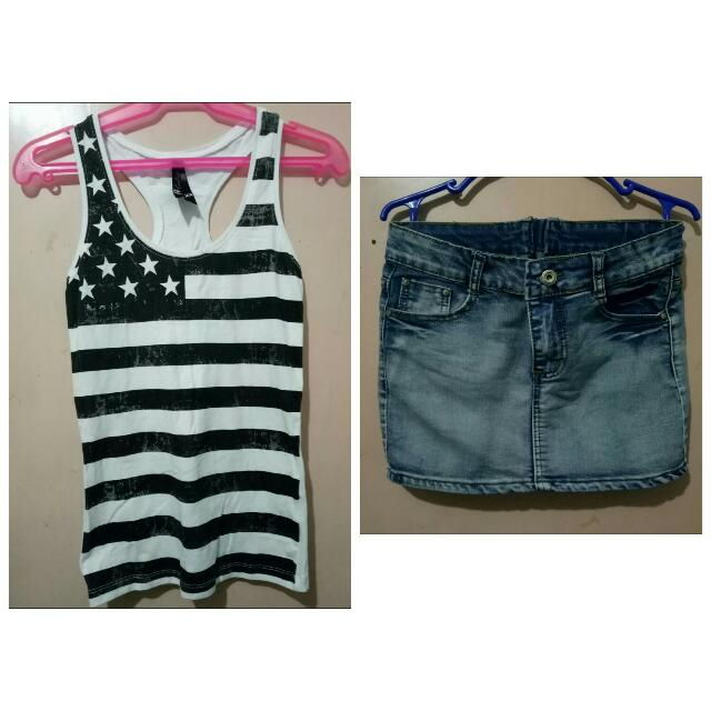 Pre-loved Sleeveless Blouse And Mini Skirt