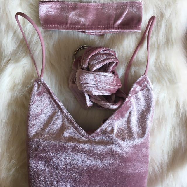 PURPLE VELVETY MATERIAL DRESS