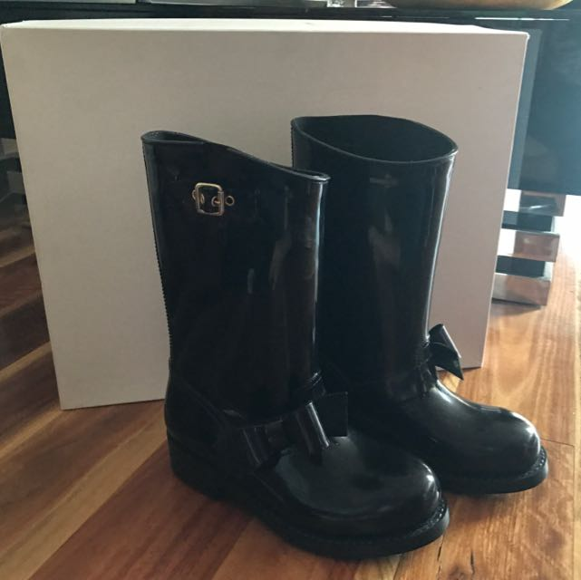 RED Valentino Bow Moto Rain Boot