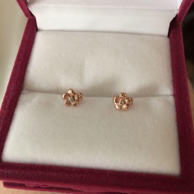 Rose Gold Flower Earrings