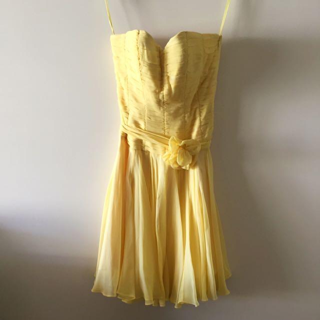 Ruth Tarvydas Silk Party Dress In Yellow