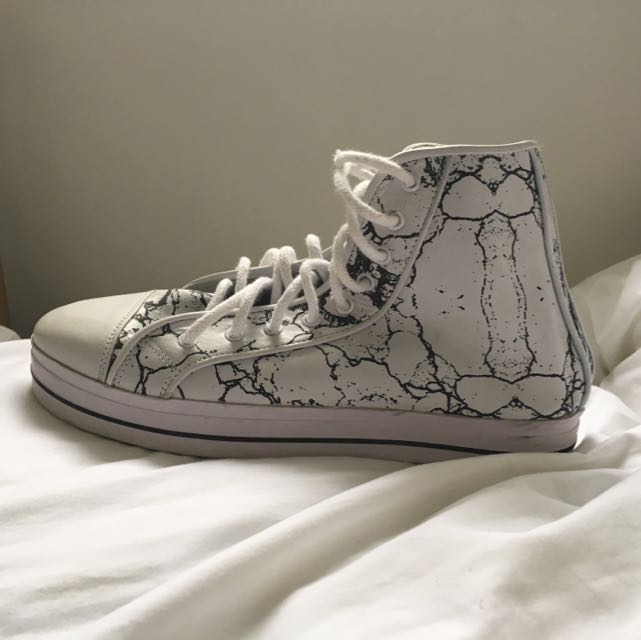 SHAKUHACHI All Leather marble print Hi-Tops **price Reduced**
