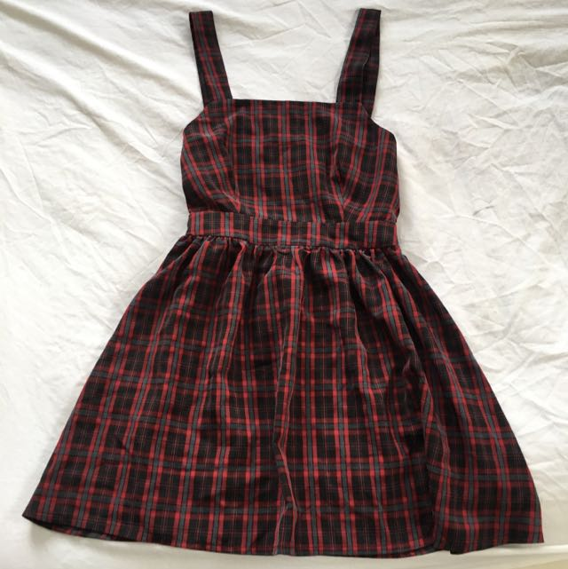 Short Red Plaid Dress