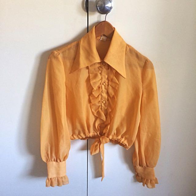 Vintage Collar Shirt Cropped