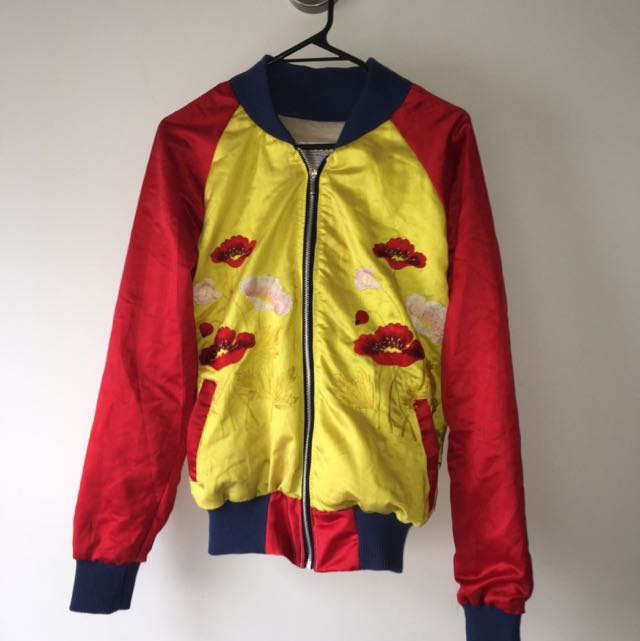 Vintage Embroidered Bomber Jacket