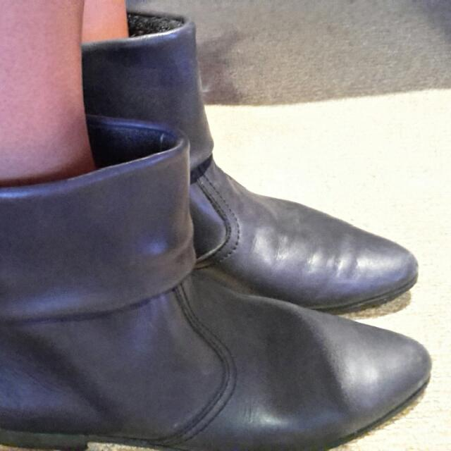 Vintage Genuine LAMB LEATHER dark Grey Navy Ankle Boots Booties Sz 37 / 6.5 FROM PARIS