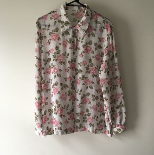 Vintage Sheer Rose Print blouse