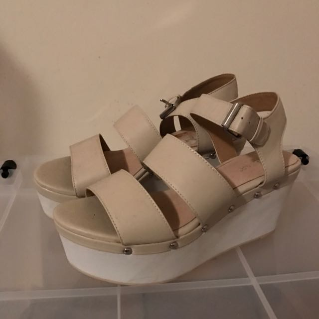 Wedges In Nude And White