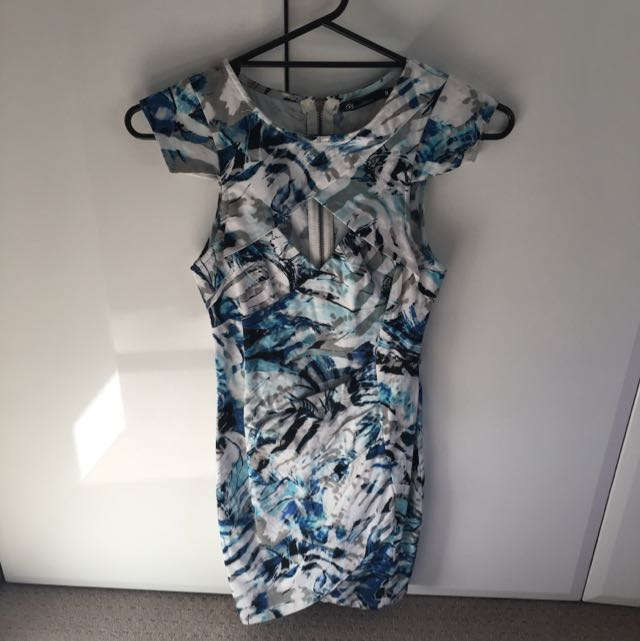 White Blue Black Dress Size 8