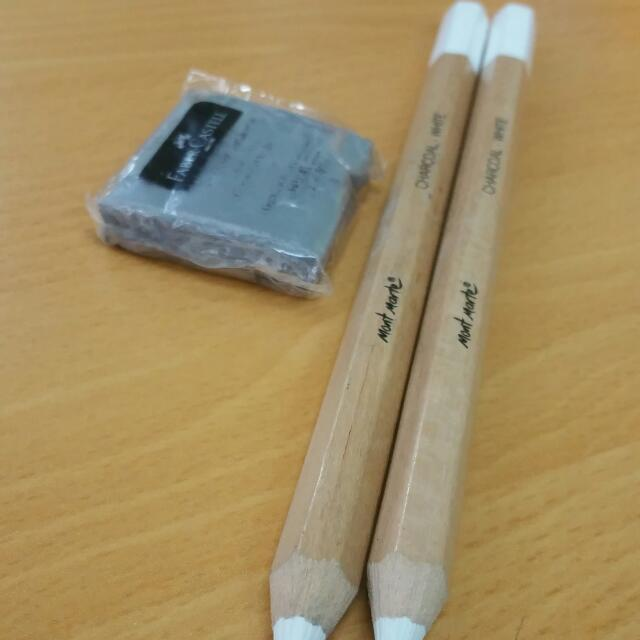 White Charcoal Pencil And Kneadable Eraser