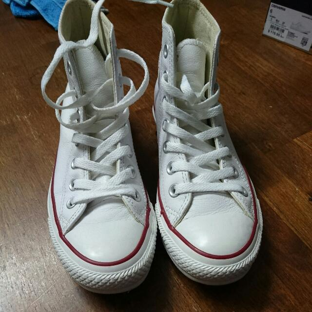 White Leather Converse Hi Tops Size 6