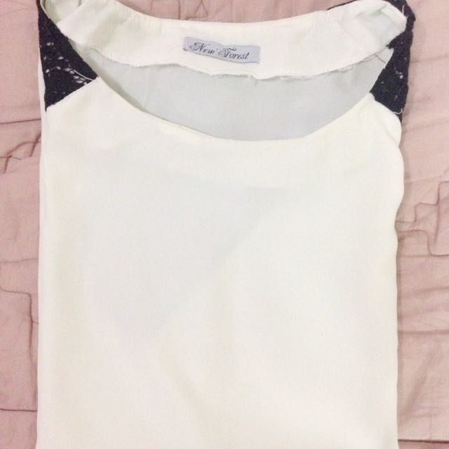 White Top With Black Brocade