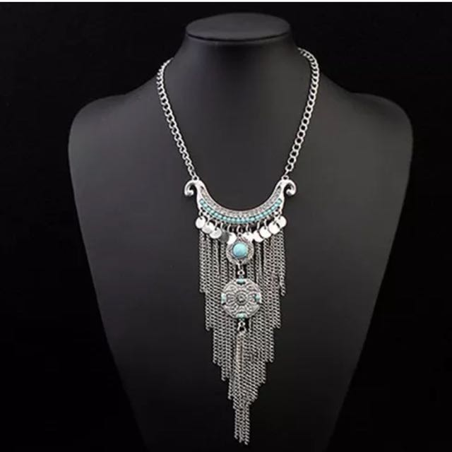 Women's Boho Turquoise Long Tassels Pendant Necklace
