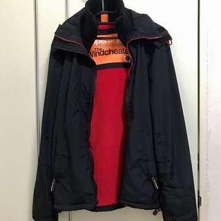 正品 Superdry 極度乾燥 防風 保暖 外套 黑紅