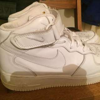 Nike Air Force One High Tops White Sz Us 9