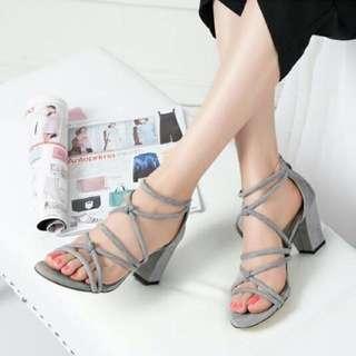 gladiator heels grey high heels wanita sepatu