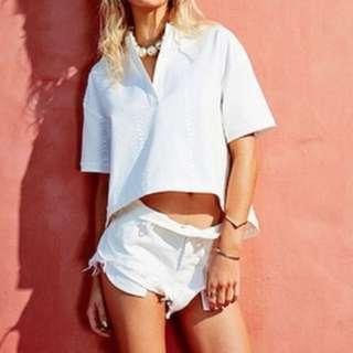 Maurie&Eve oh boy! Denim Shorts/white