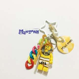 Miniman手作飾品 法老王積木人偶星星鑰匙圈