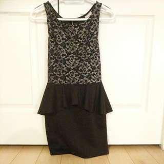 Peplum Little Black Dress With Sparklr
