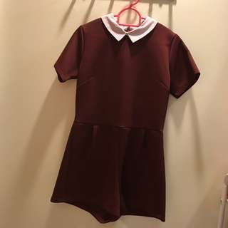 Maroon Peterpan Collar Romper