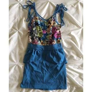 Blue And Floral Peplum Dress