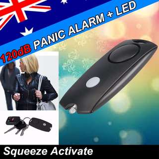 *PERSONAL SECURITY 120dB Panic Alarm Safety Guard Siren LED torch BLACK