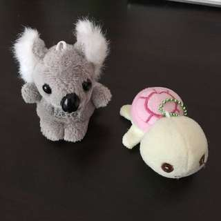Small Koala And Turtle Keychains