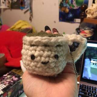 TEACUP GREEN TEA CROCHET PLUSH KEYCHAIN CHARM