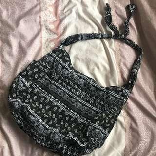 Tribal Black Printed Duffle Shoulder Bag