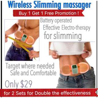 Wireless Slimming Massager * Body Muscle Stimulation Massager *    Waist Slimming *Tummy Firming * Arm Toning * Thigh Slimming * Relieves Aches and Pains