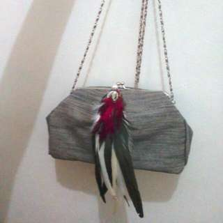 Sling Party Bag Bling Feather