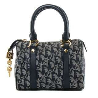 Authentic Christian Dior vintage Troter pattern canvas Navy Blue Boston bag (preoder)