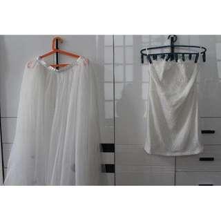 White Tube Dress and Sheer Skirt (Large)