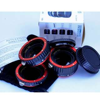 Red Metal Auto Focus Macro Extension Tube Set for CANON EF / EF-S Lens Cameras (#02)