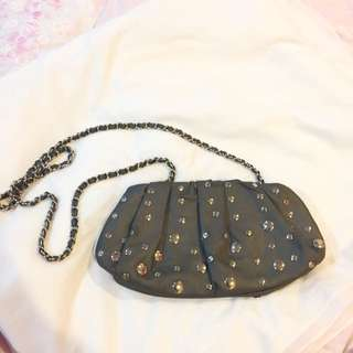 Cute Studded Grey Clutch With Chains