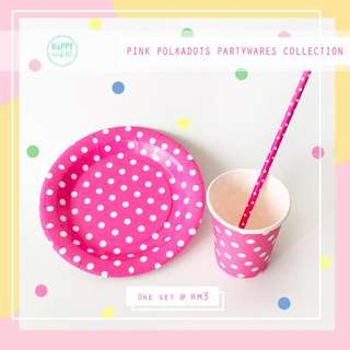 [instock]Pink Polka Dots Partyware/Paper Plate/Paper Cup/Paper Straws