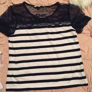 Navy & White Lace Striped Top