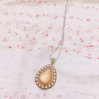 粉紅水滴寶石長項鍊