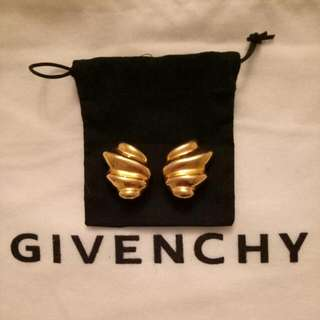 Authentic Givenchy Vintage Gold Tone Clip On Earrings - RARE PAIR