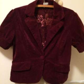 Crop Velvet Jacket Size 12