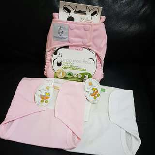 BN MooMooKow Stay-Dry Cloth Diaper + 2 NB Cloth Diapers