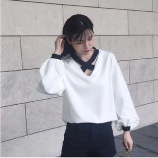 交叉性感白襯衫