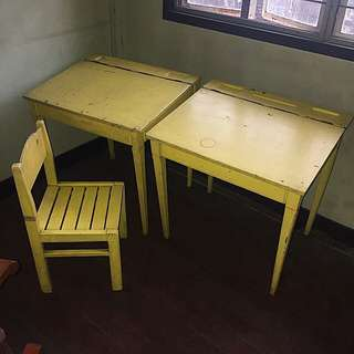 Children's Wooden Blackboard Desk Table And Chair Set