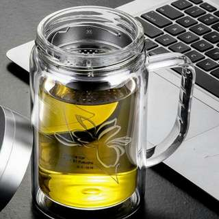 雙層濾網透明把手玻璃杯