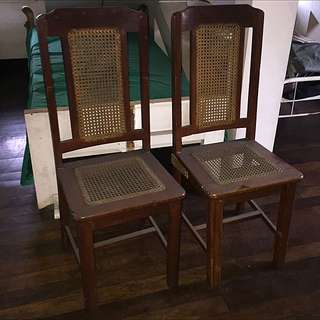 Heavy Hardwood Chairs w/ Banig Backrest And Seats