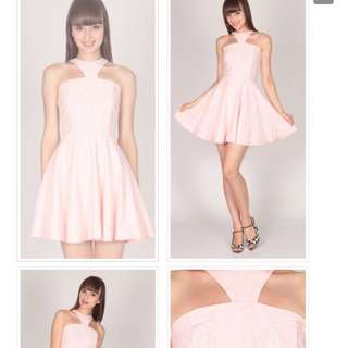 DSB Cut In Embarrassed Saws Lace Dress In Pink