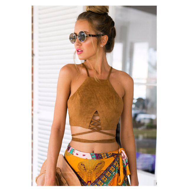 實拍特價✨麂皮✨歐美渡假露背綁帶短版背心✨